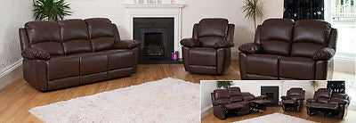 Beautiful Leather Reclining sofas in 3, 2 and 1 - NEW!-EHomewares