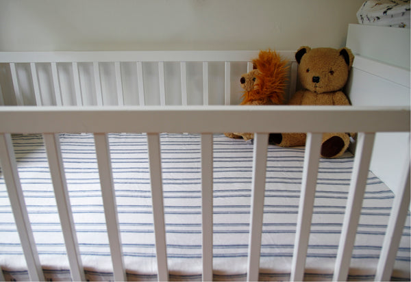 Fitted linen cot sheet - Navy and white ticking