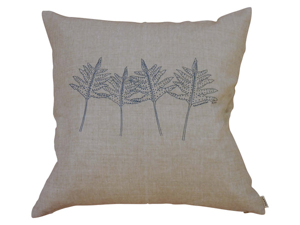 Linen cushion | Heart Ethical | Kowhaowhao | inky blue