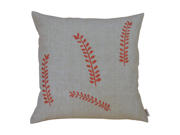 linen cushion | 45cm | Kowhai Leaves | copper | Heart Ethical