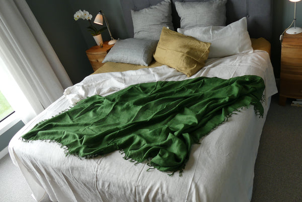 Olive green linen throw