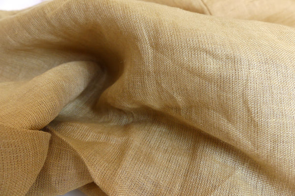 Fitted linen cot sheet - ochre