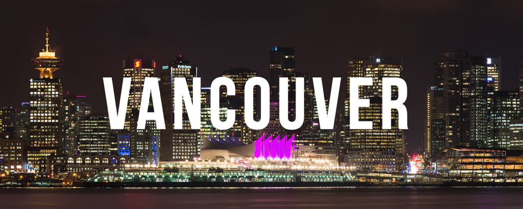 vancouver at night with text