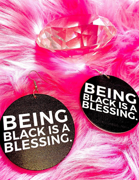 Being Black Is A Blessing Hoops | EarringEverything.com
