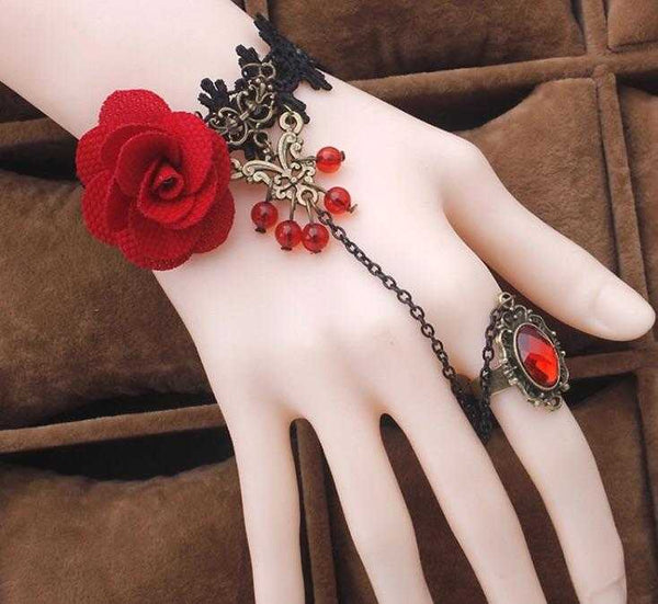Red Rose Ring Bracelet | EarringEverything.com