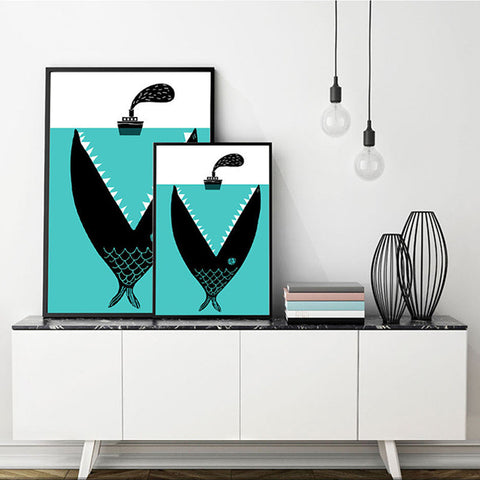 'The Boat and the Hungry Fish' - Canvas Art Print