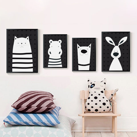 'Animal Antics' Monochrome - Kids Canvas Art Prints