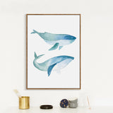 'Blue Whales Watercolour' - Canvas Art Print