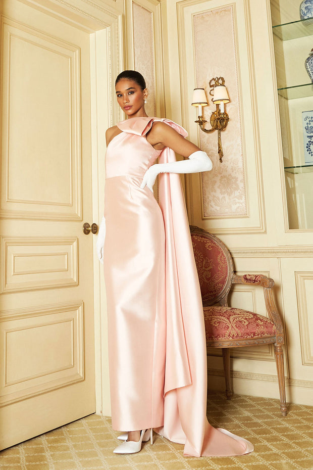 Alexandra Silk and Wool Column Gown with Cape