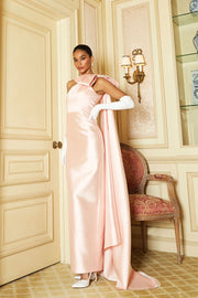 Alexandra Silk and Wool Column Gown with Removable Cape