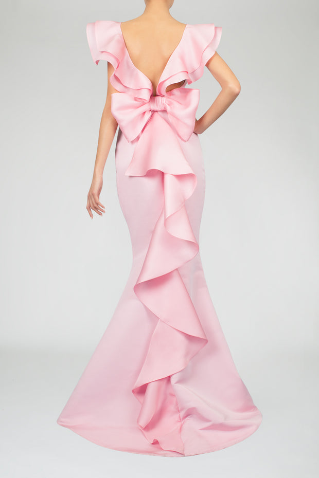 Pink Silk dress bow ruffles