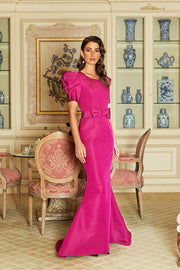 Constance Silk Faille Mermaid Gown with Bow Belt