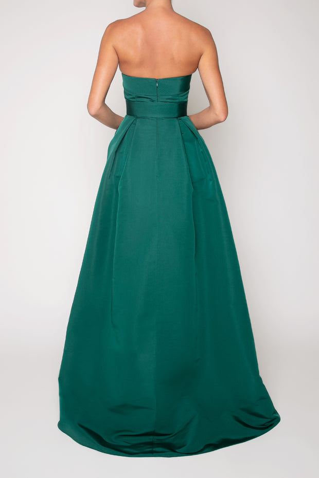 Cristina Silk Faille Full Gown with Bow Belt