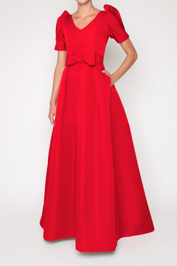 Eleanor Silk Faille Full Gown with Bow Belt