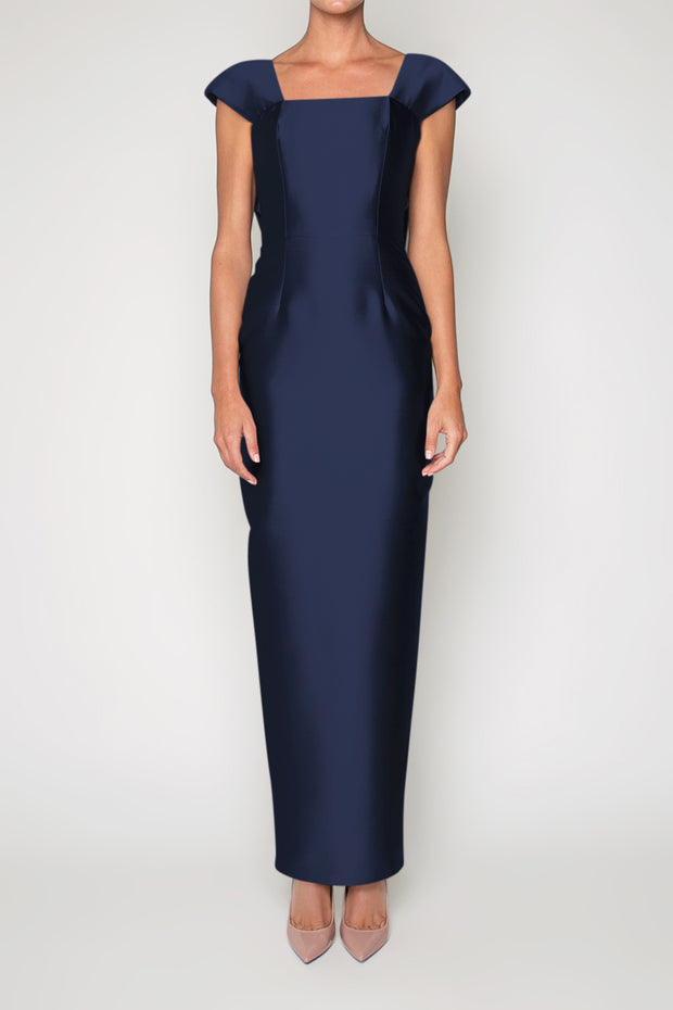 Eliza Silk and Wool Column Gown