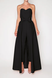 Emily Silk Faille Jumpsuit with Big Bow Convertible Skirt