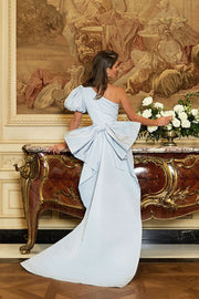 Francesca Silk Faille Column Gown with Bow Butterfly Train