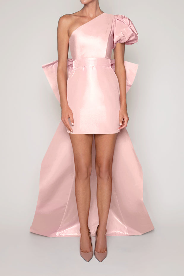 Francesca Silk Faille Mini Dress with Bow Butterfly Train