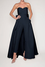 Silk Faille Bow Back Jumpsuit with Convertible Skirt