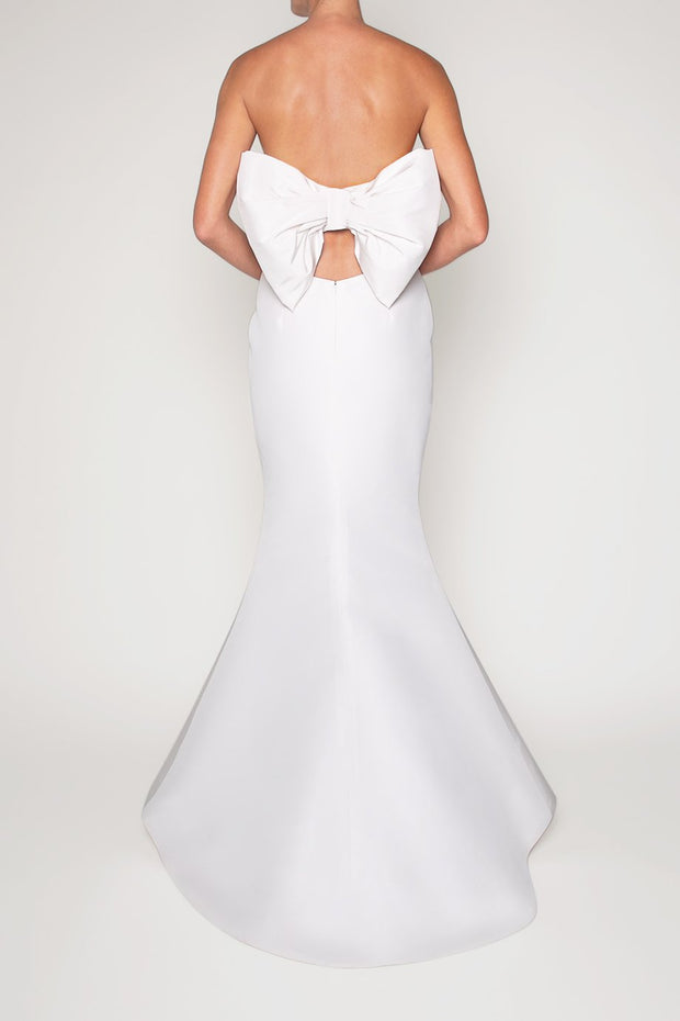 Silk Faille Bow Back Mermaid Gown
