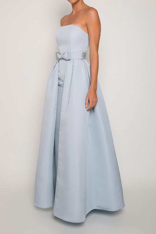 Silk Faille Strapless Column Gown with Bow Convertible Skirt