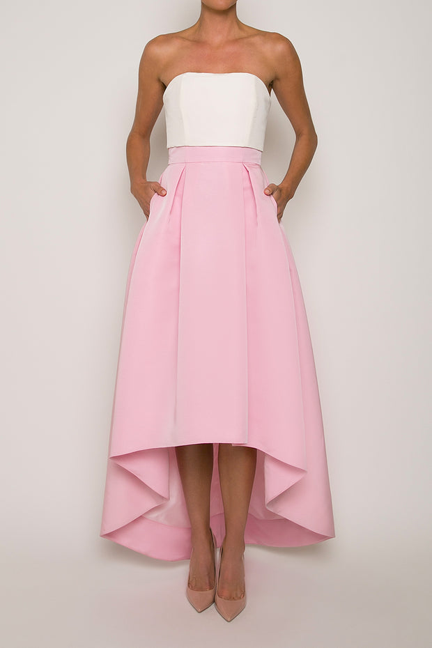 Silk Faille High Low Pleated Skirt