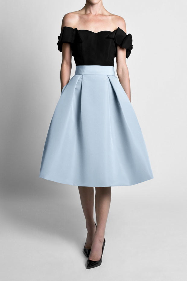 Silk Faille Mid Length Pleated Skirt