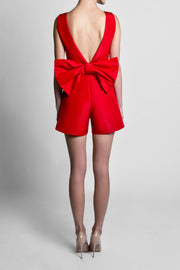 Silk Faille Bow Back Playsuit with Convertible Skirt