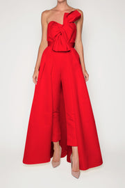 Silk Faille Twisted Bow Jumpsuit with Convertible Skirt