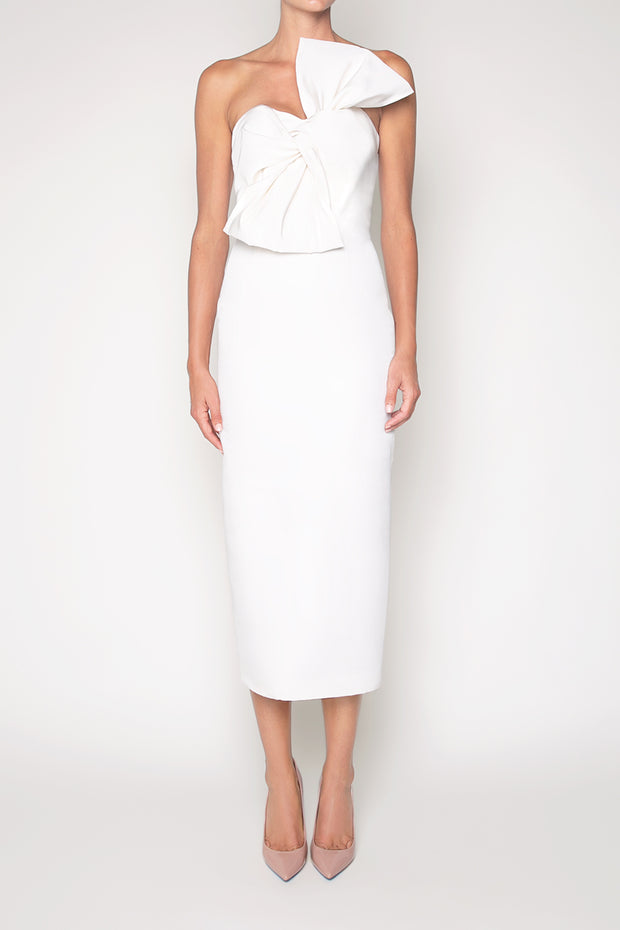 Silk Faille Twisted Bow Midi Dress