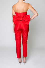 Silk Faille Bow Back Jumpsuit