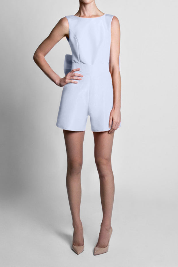 Silk Faille Bow Back Playsuit