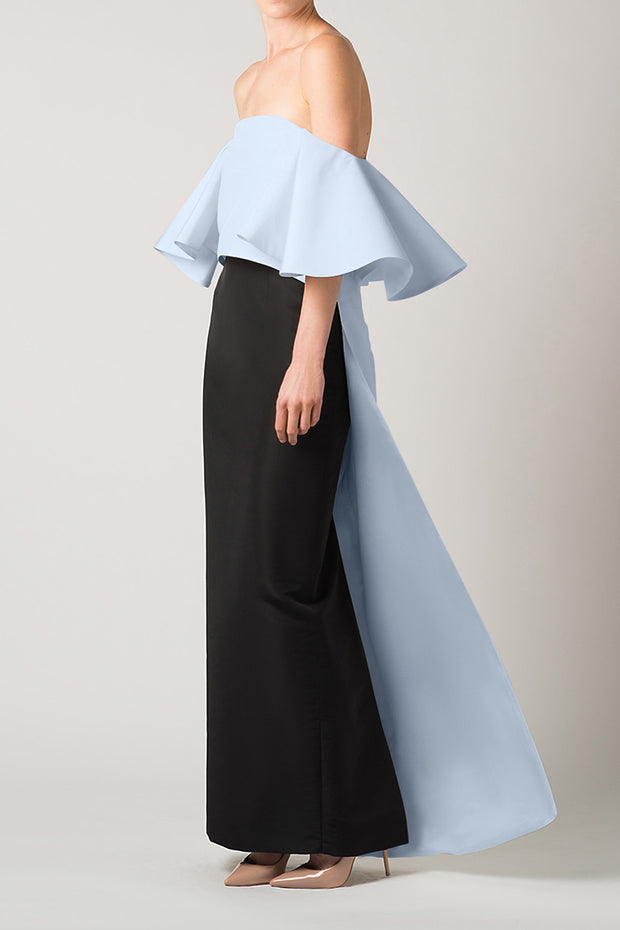 Silk Faille Off The Shoulder Cape Top