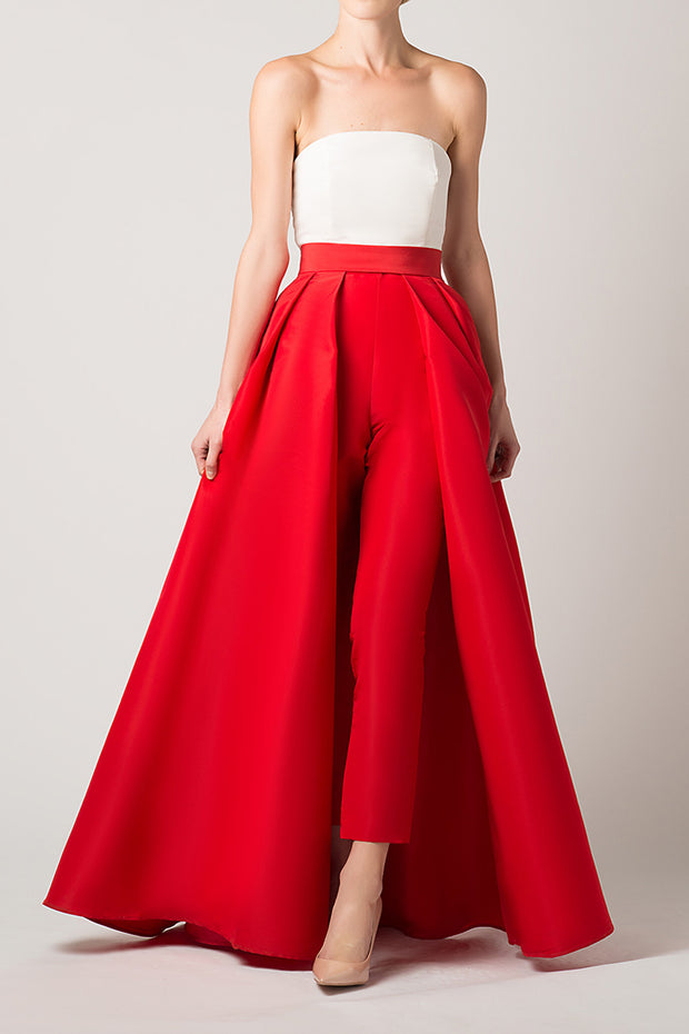 Silk Faille Cigarette Pants with Convertible Skirt