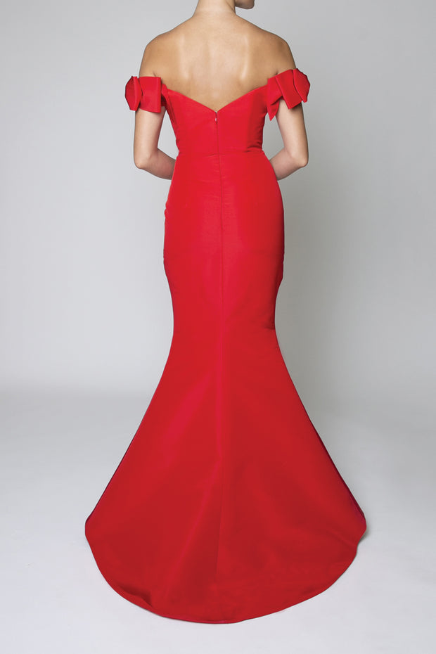 Silk Faille Off The Shoulder Bow Gown