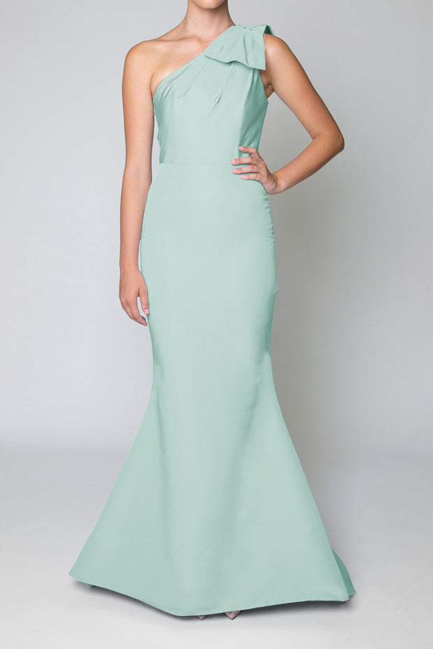 Silk Faille One Shoulder Gown