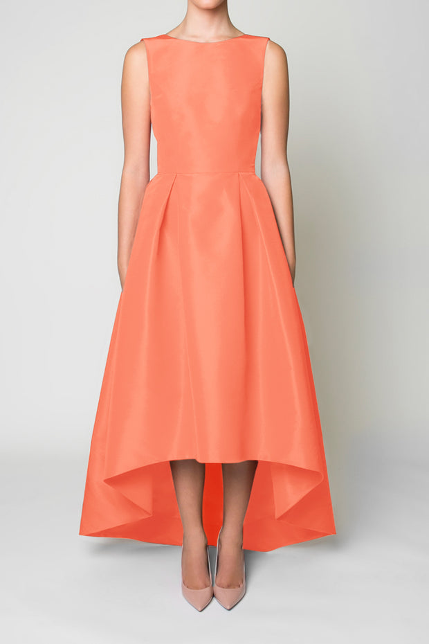 Silk Faille Sleeveless High Low Gown
