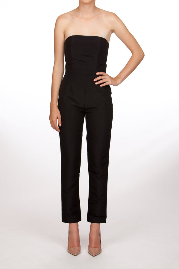 Silk Faille Strapless Jumpsuit