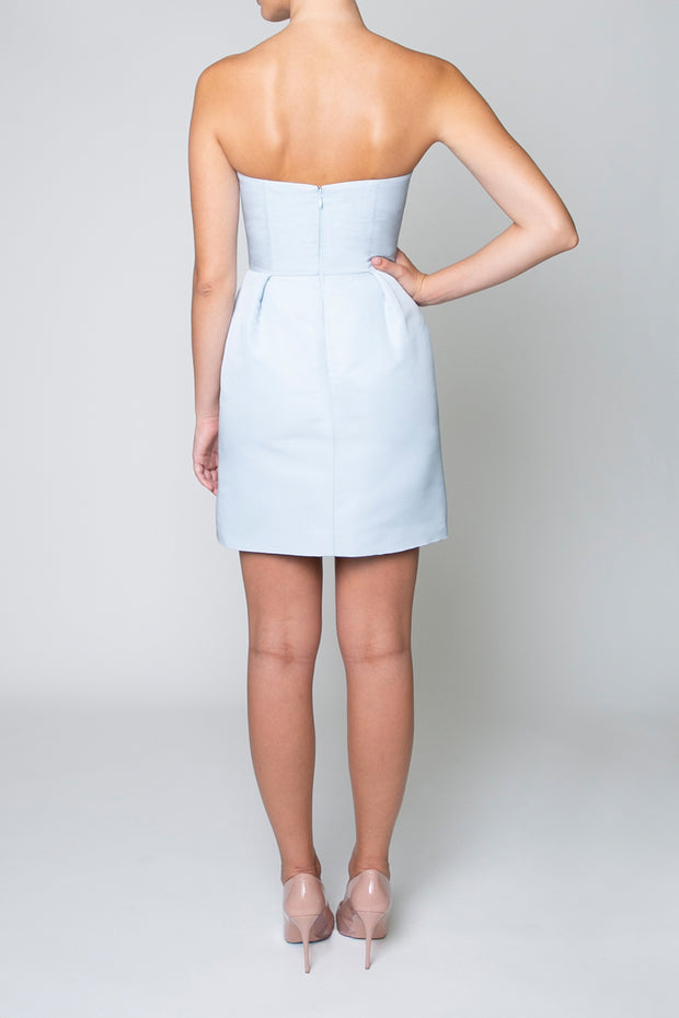 Silk Faille Strapless Mini Dress