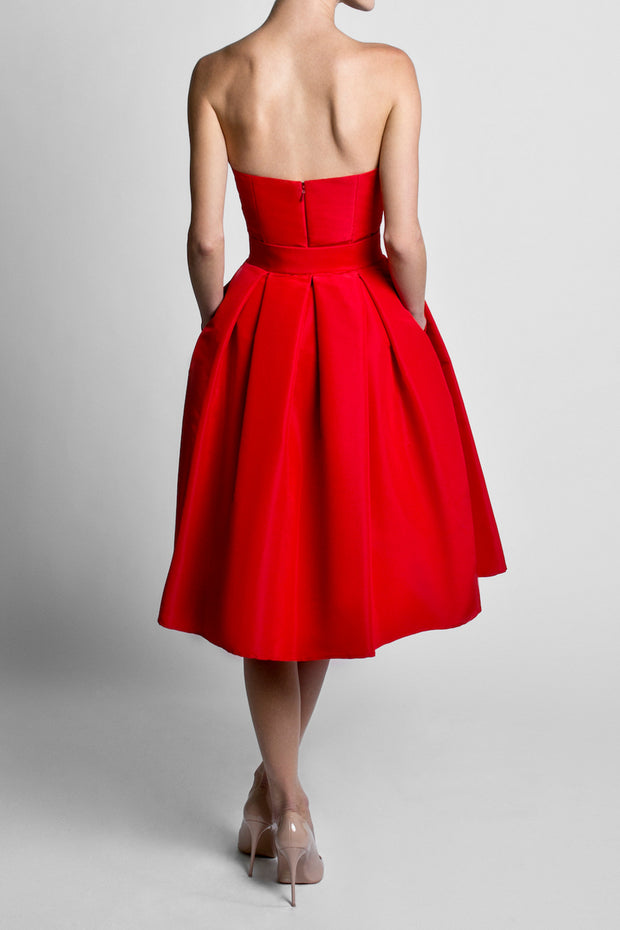 Silk Faille Strapless Mini Dress with Mid Length Bow Convertible Skirt