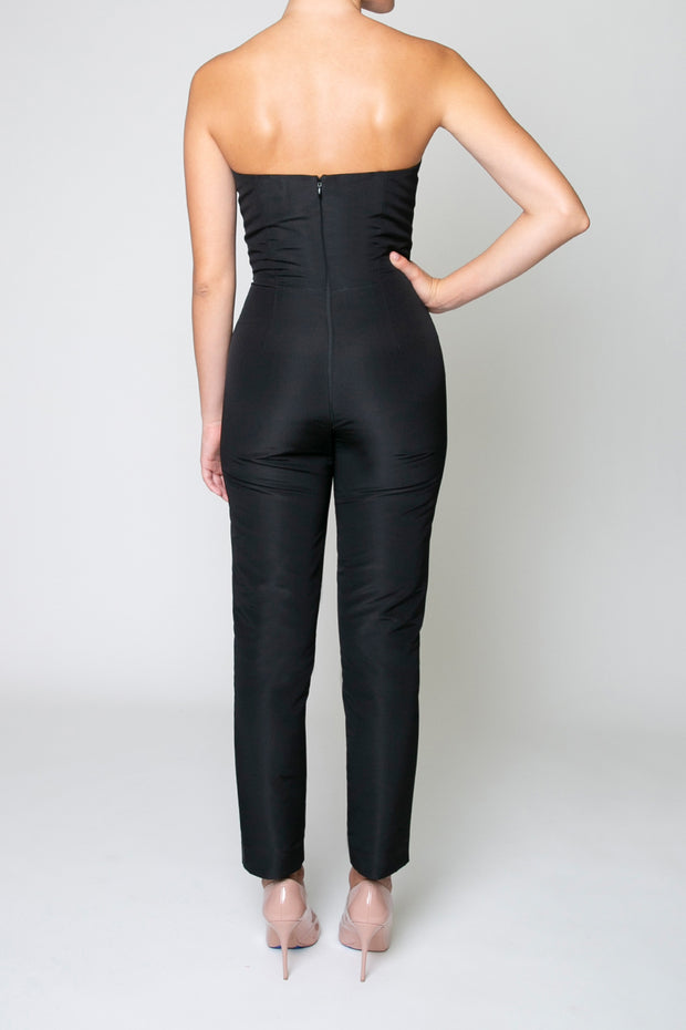 Silk Faille Twisted Bow Jumpsuit