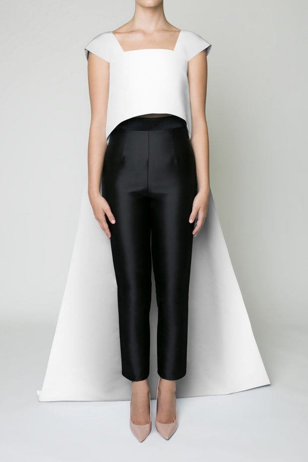 Silk Wool Cigarette Pants