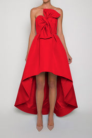 Silk Faille Twisted Bow High Low Gown