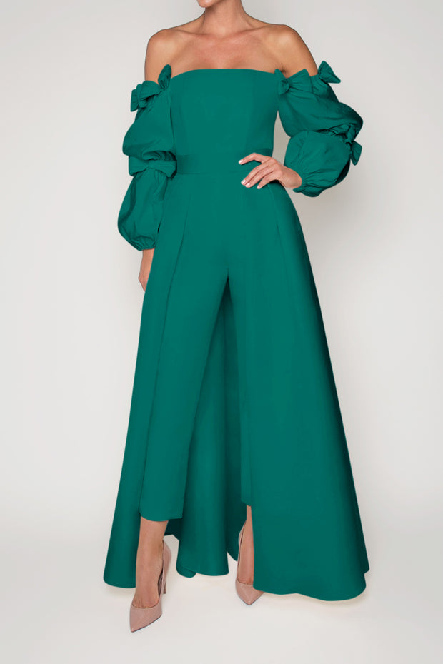 Valen Silk Faille Jumpsuit with Convertible Skirt