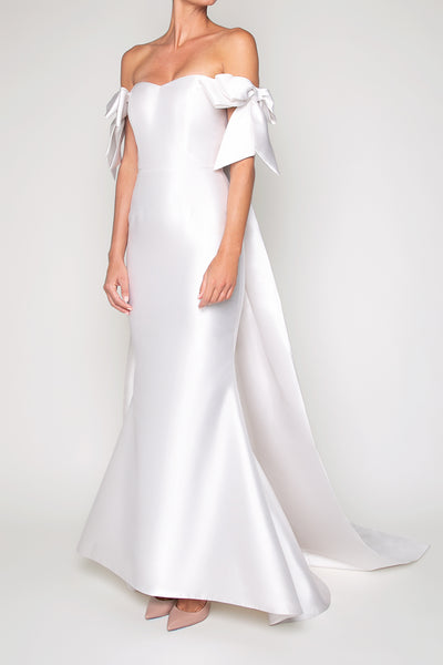 Victoria Silk and Wool Mermaid Gown with Removable Cape