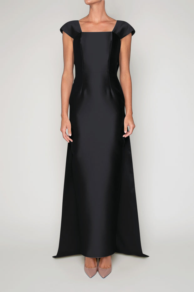 Vivienne Silk and Wool Column Gown with Removable Train