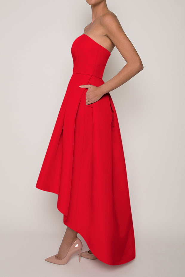 Silk Faille Strapless High Low Gown