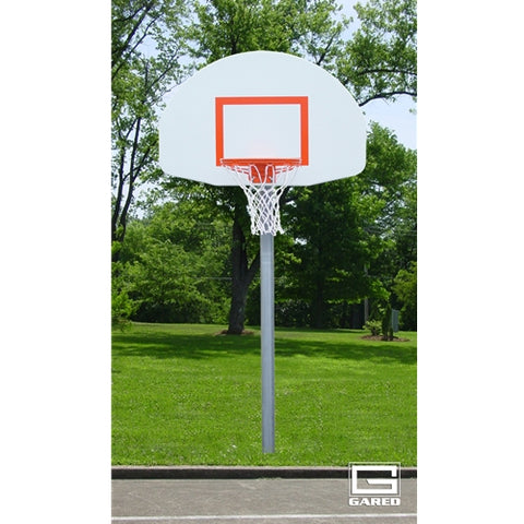 PK4540 Basketball Gooseneck Pole 4 ft extension with Fan Shape Backboard & Rim