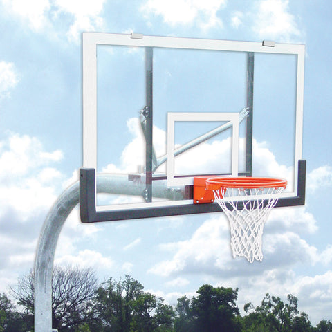"GN45 Basketball Gooseneck Pole 4 ft extension with 60"" Clear Backboard & Rim"