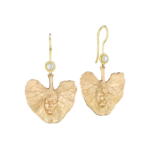 Anthony Lent Rose Gold Ginko Leaf with Diamonds